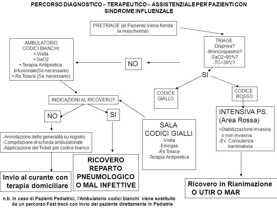 PERCORSO DIAGNOSTICO – TERAPEUTICO – ASSISTENZIALE PER PAZIENTI CON SINDROME INFLUENZALE PRETRIAGE (al Paziente Viene fornita la mascherina): AMBULATORIO CODICI BIANCHI: -Visita -SaO2 -Terapia Antipiretica Infusionale(Se necessario) -Rx Torace (Se necessario) TRIAGE -Dispnea.