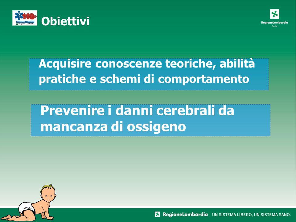 Obiettivi Acquisire conoscenze teoriche, abilità pratiche e schemi di comportamento Prevenire i danni cerebrali da mancanza di ossigeno