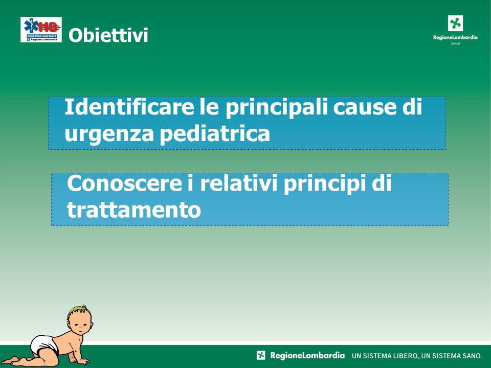 Obiettivi Identificare le principali cause di urgenza pediatrica Conoscere i relativi principi di trattamento