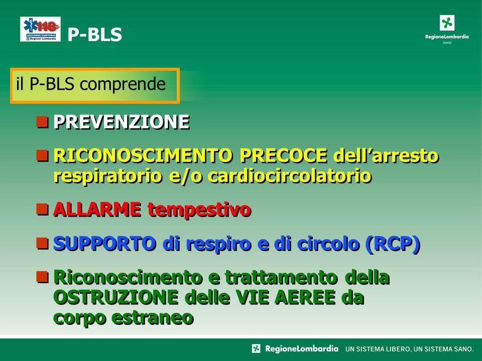 PREVENZIONE RICONOSCIMENTO PRECOCE dell'arresto respiratorio e/o cardiocircolatorio ALLARME tempestivo SUPPORTO di respiro e di circolo (RCP) Riconoscimento e trattamento della OSTRUZIONE delle VIE AEREE da corpo estraneo PREVENZIONE RICONOSCIMENTO PRECOCE dell'arresto respiratorio e/o cardiocircolatorio ALLARME tempestivo SUPPORTO di respiro e di circolo (RCP) Riconoscimento e trattamento della OSTRUZIONE delle VIE AEREE da corpo estraneo P-BLS il P-BLS comprende