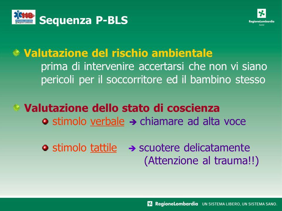 Valutazione del rischio ambientale prima di intervenire accertarsi che non vi siano pericoli per il soccorritore ed il bambino stesso Sequenza P-BLS V