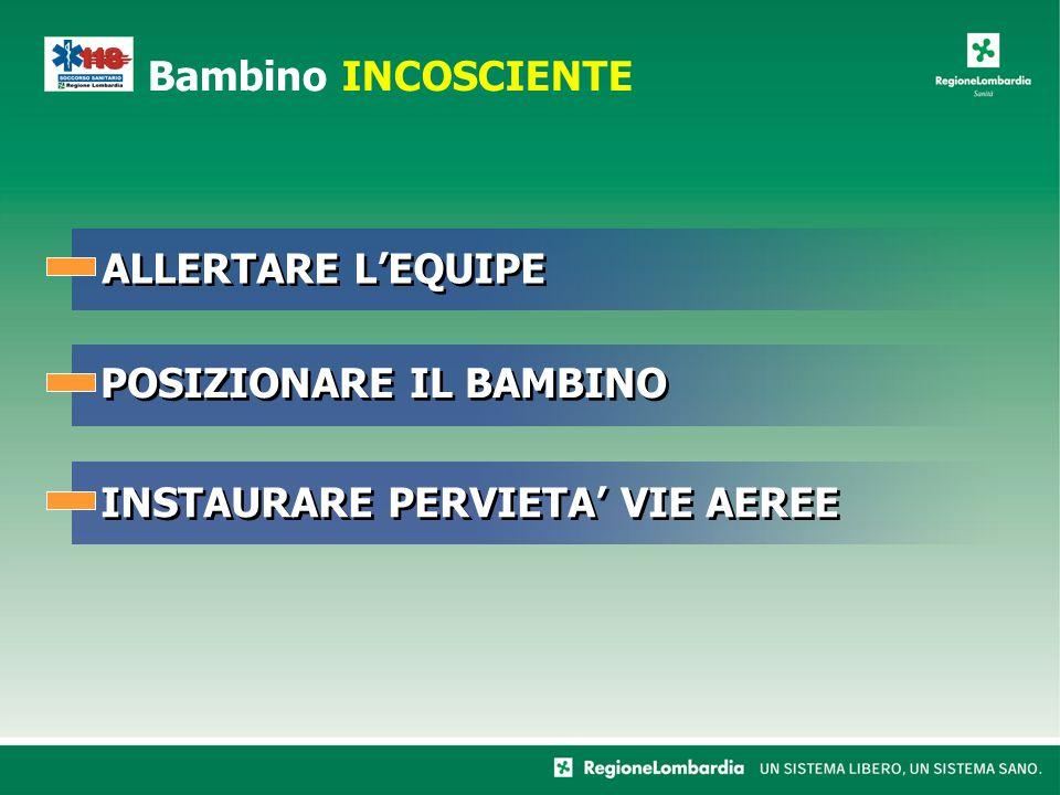 Bambino INCOSCIENTE ALLERTARE L'EQUIPE POSIZIONARE IL BAMBINO INSTAURARE PERVIETA' VIE AEREE