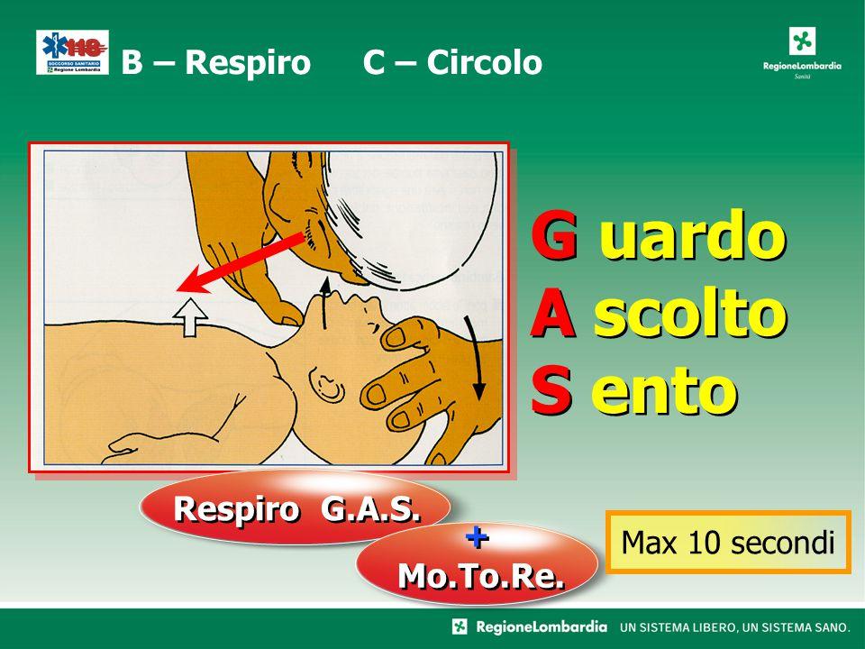 G uardo A scolto S ento G uardo A scolto S ento B – Respiro C – Circolo Respiro G.A.S. + Mo.To.Re. + Mo.To.Re. Max 10 secondi