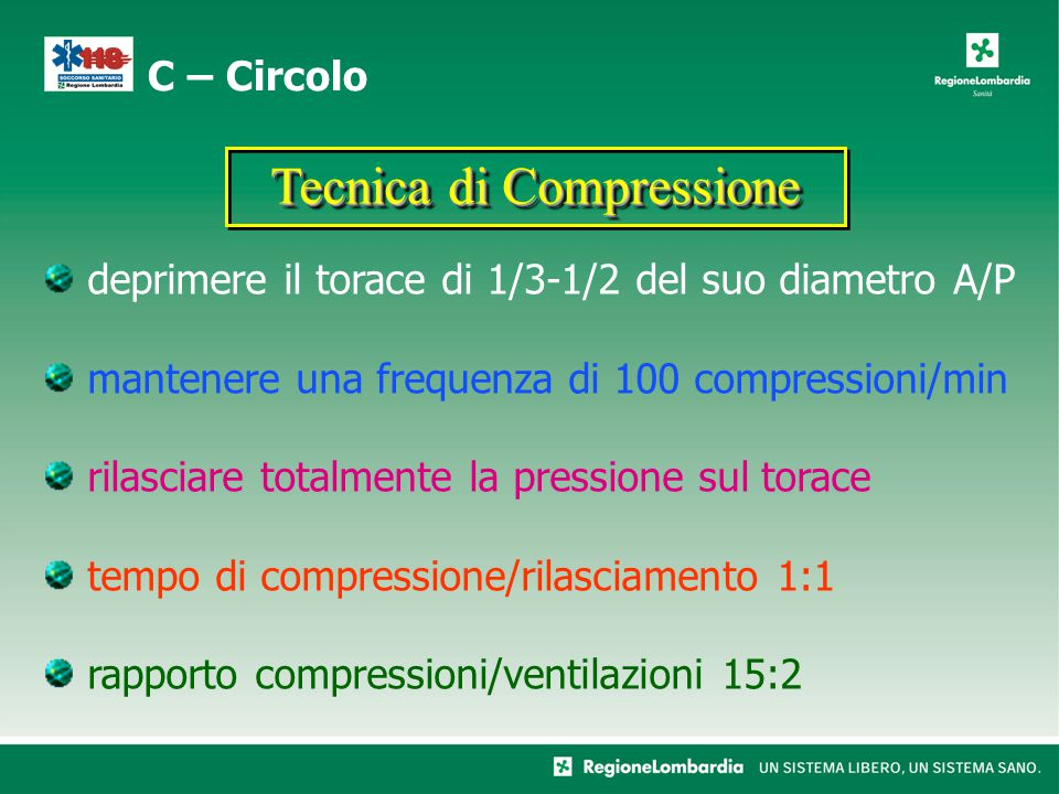 deprimere il torace di 1/3-1/2 del suo diametro A/P mantenere una frequenza di 100 compressioni/min rilasciare totalmente la pressione sul torace tempo di compressione/rilasciamento 1:1 rapporto compressioni/ventilazioni 15:2 C – Circolo Tecnica di Compressione