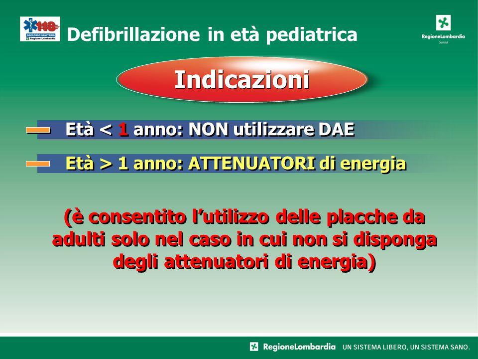 Defibrillazione in età pediatrica Età < 1 anno: NON utilizzare DAE Indicazioni Età > 1 anno: ATTENUATORI di energia (è consentito l'utilizzo delle placche da adulti solo nel caso in cui non si disponga degli attenuatori di energia)