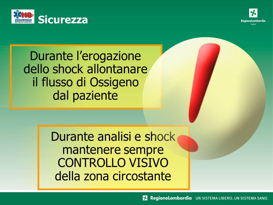 Sicurezza Durante l'erogazione dello shock allontanare il flusso di Ossigeno dal paziente Durante analisi e shock mantenere sempre CONTROLLO VISIVO della zona circostante