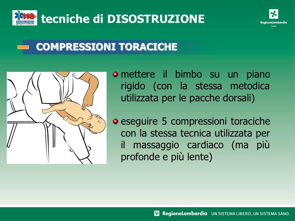 mettere il bimbo su un piano rigido (con la stessa metodica utilizzata per le pacche dorsali) eseguire 5 compressioni toraciche con la stessa tecnica utilizzata per il massaggio cardiaco (ma più profonde e più lente) tecniche di DISOSTRUZIONE COMPRESSIONI TORACICHE