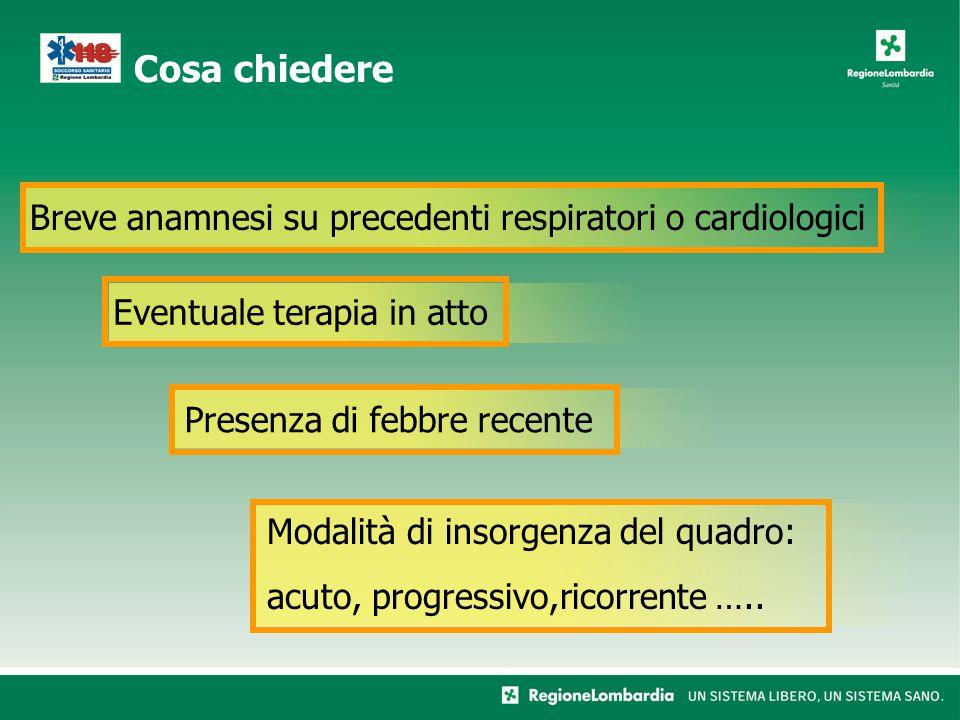 Presenza di febbre recente Breve anamnesi su precedenti respiratori o cardiologici Eventuale terapia in atto Modalità di insorgenza del quadro: acuto,