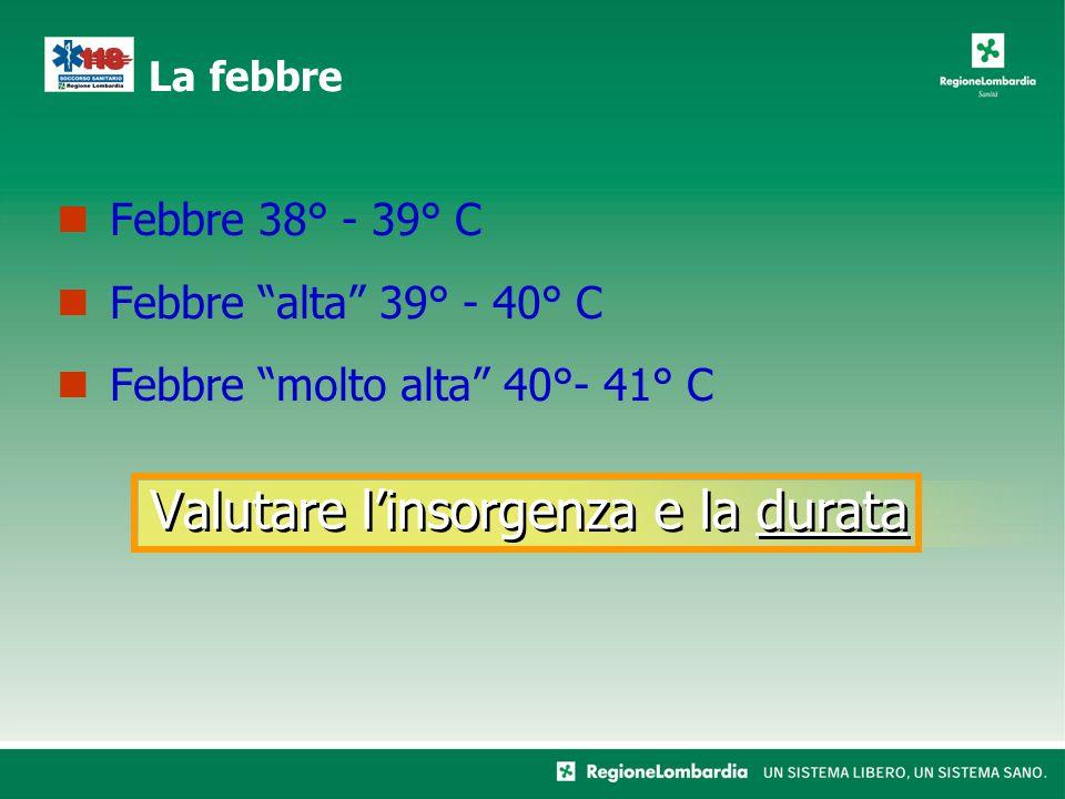 Valutare l'insorgenza e la durata Febbre 38° - 39° C Febbre alta 39° - 40° C Febbre molto alta 40°- 41° C La febbre