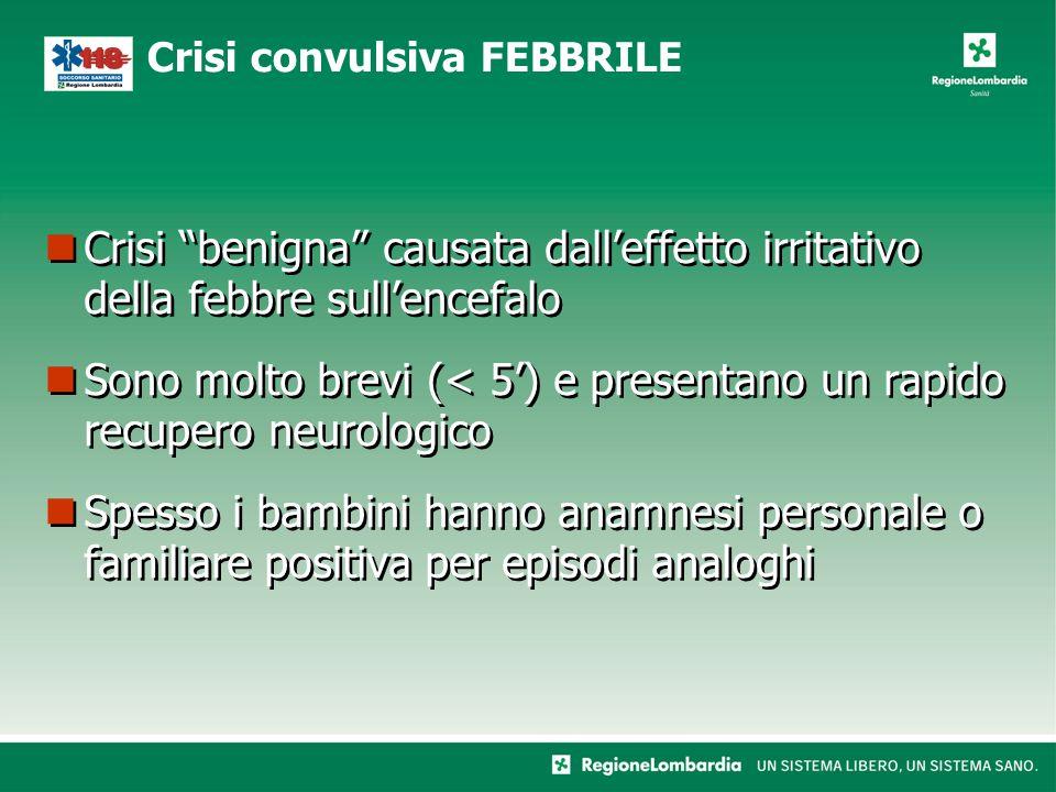 """Crisi """"benigna"""" causata dall'effetto irritativo della febbre sull'encefalo Sono molto brevi (< 5') e presentano un rapido recupero neurologico Spesso"""