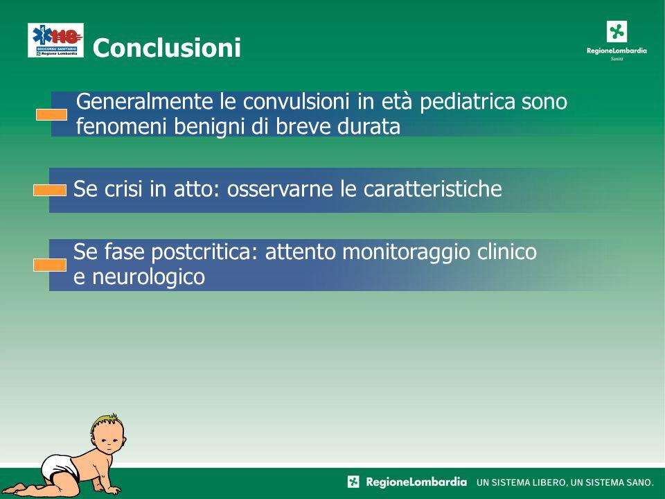 Conclusioni Generalmente le convulsioni in età pediatrica sono fenomeni benigni di breve durata Se crisi in atto: osservarne le caratteristiche Se fase postcritica: attento monitoraggio clinico e neurologico