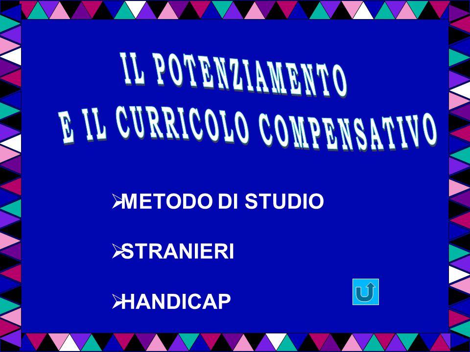  METODO DI STUDIO  STRANIERI  HANDICAP