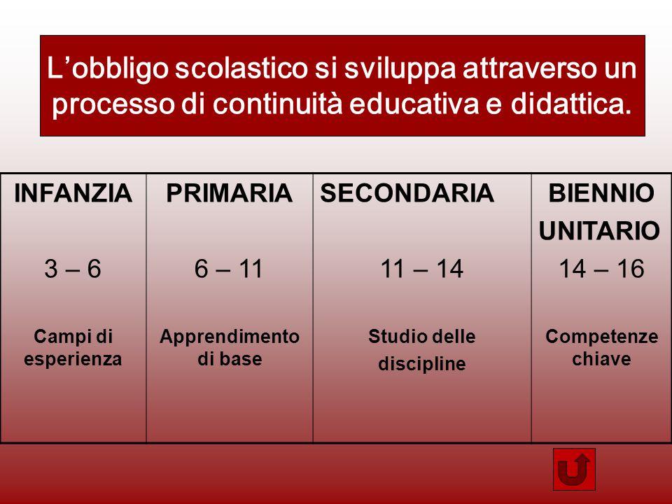 L'obbligo scolastico si sviluppa attraverso un processo di continuità educativa e didattica.