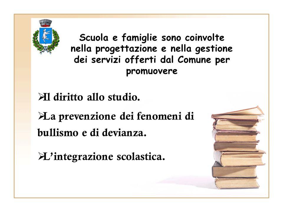 Scuola e famiglie sono coinvolte nella progettazione e nella gestione dei servizi offerti dal Comune per promuovere  Il diritto allo studio.