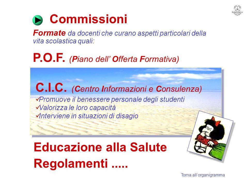 Commissioni Formate da docenti che curano aspetti particolari della vita scolastica quali: P.O.F. (Piano dell' Offerta Formativa) C.I.C. (Centro Infor