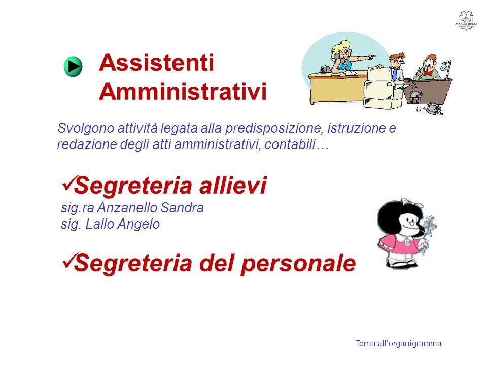 Assistenti Amministrativi Svolgono attività legata alla predisposizione, istruzione e redazione degli atti amministrativi, contabili… Segreteria allie