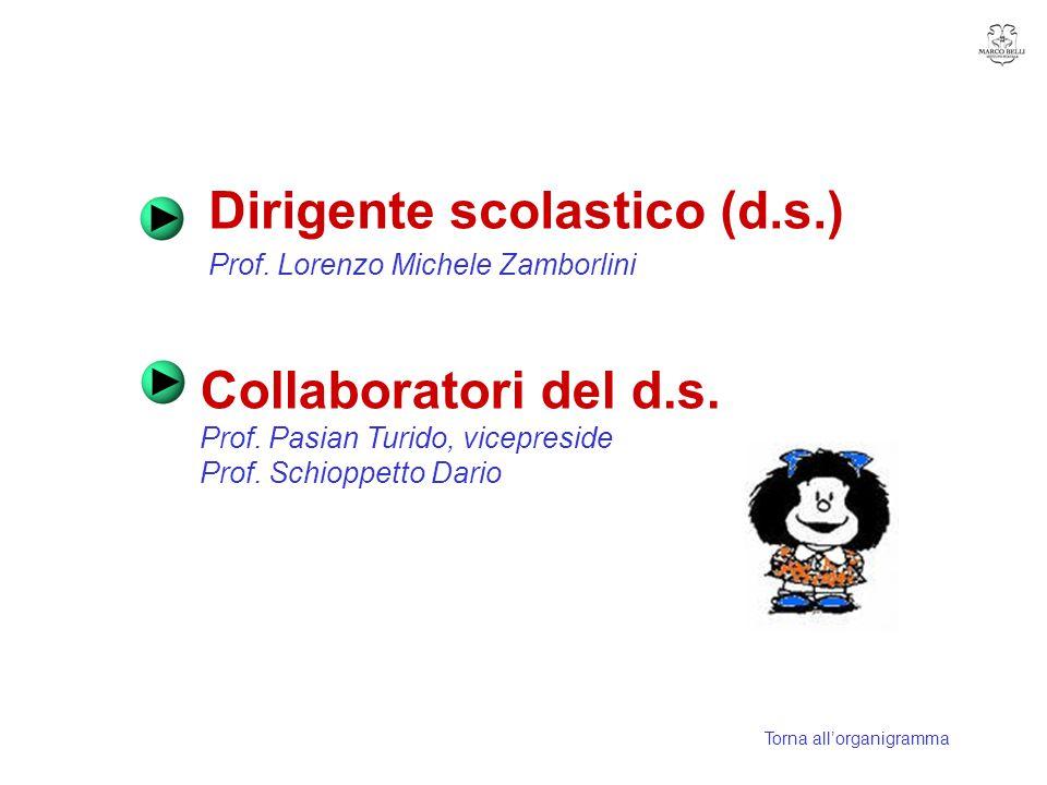 Dirigente scolastico (d.s.) Prof. Lorenzo Michele Zamborlini Collaboratori del d.s. Prof. Pasian Turido, vicepreside Prof. Schioppetto Dario Torna all