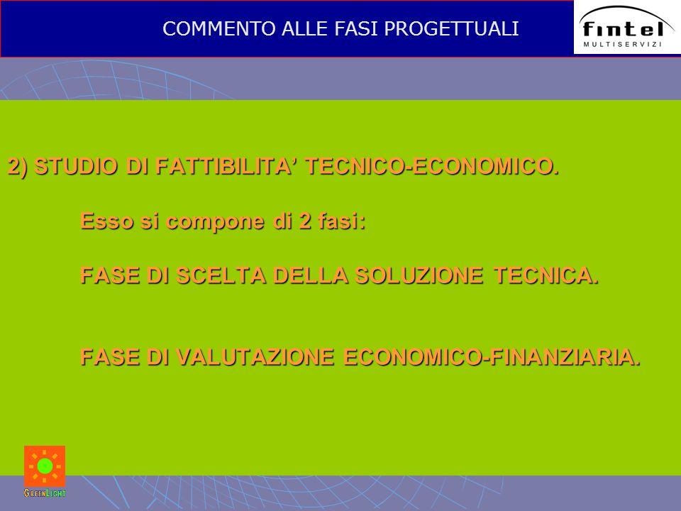 2) STUDIO DI FATTIBILITA' TECNICO-ECONOMICO. Esso si compone di 2 fasi: FASE DI SCELTA DELLA SOLUZIONE TECNICA. FASE DI VALUTAZIONE ECONOMICO-FINANZIA