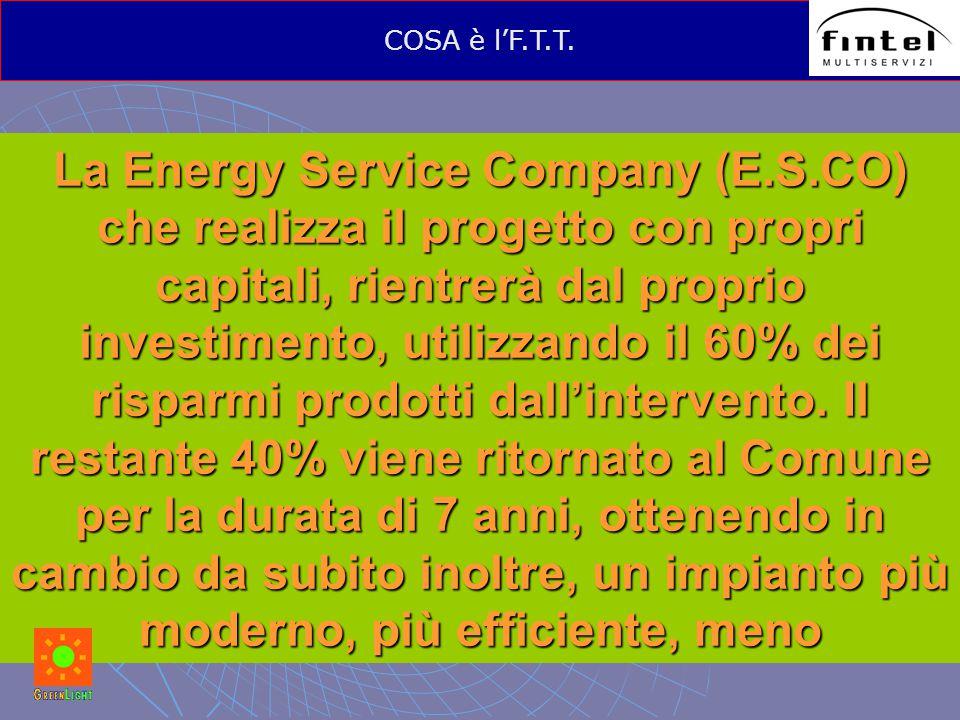 La Energy Service Company (E.S.CO) che realizza il progetto con propri capitali, rientrerà dal proprio investimento, utilizzando il 60% dei risparmi p