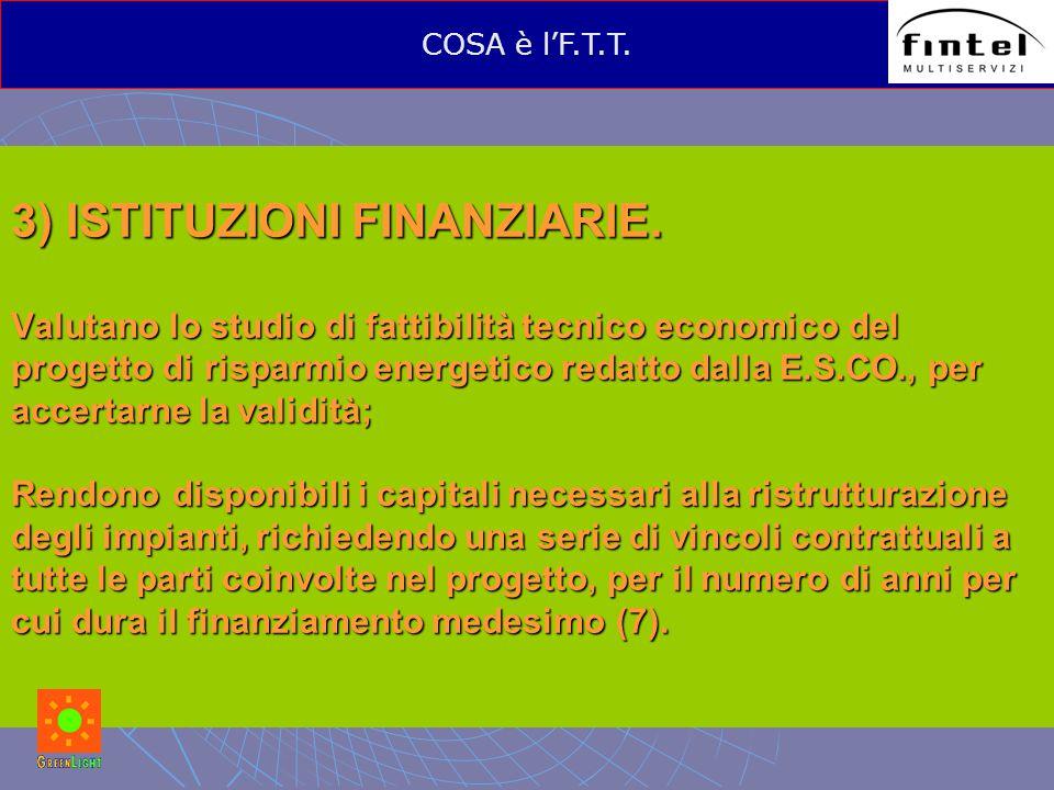 3) ISTITUZIONI FINANZIARIE. Valutano lo studio di fattibilità tecnico economico del progetto di risparmio energetico redatto dalla E.S.CO., per accert