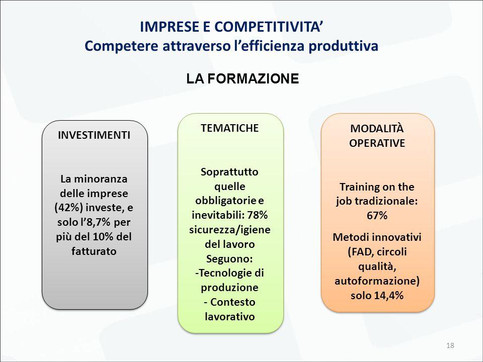 18 INVESTIMENTI La minoranza delle imprese (42%) investe, e solo l'8,7% per più del 10% del fatturato INVESTIMENTI La minoranza delle imprese (42%) investe, e solo l'8,7% per più del 10% del fatturato MODALITÀ OPERATIVE Training on the job tradizionale: 67% Metodi innovativi (FAD, circoli qualità, autoformazione) solo 14,4% MODALITÀ OPERATIVE Training on the job tradizionale: 67% Metodi innovativi (FAD, circoli qualità, autoformazione) solo 14,4% TEMATICHE Soprattutto quelle obbligatorie e inevitabili: 78% sicurezza/igiene del lavoro Seguono: -Tecnologie di produzione - Contesto lavorativo TEMATICHE Soprattutto quelle obbligatorie e inevitabili: 78% sicurezza/igiene del lavoro Seguono: -Tecnologie di produzione - Contesto lavorativo IMPRESE E COMPETITIVITA' Competere attraverso l'efficienza produttiva LA FORMAZIONE