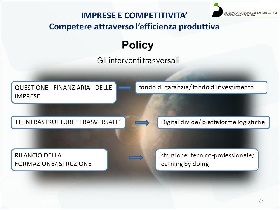 27 Policy Gli interventi trasversali QUESTIONE FINANZIARIA DELLE IMPRESE IMPRESE E COMPETITIVITA' Competere attraverso l'efficienza produttiva LE INFRASTRUTTURE TRASVERSALI RILANCIO DELLA FORMAZIONE/ISTRUZIONE fondo di garanzia/ fondo d'investimento Digital divide/ piattaforme logistiche Istruzione tecnico-professionale/ learning by doing