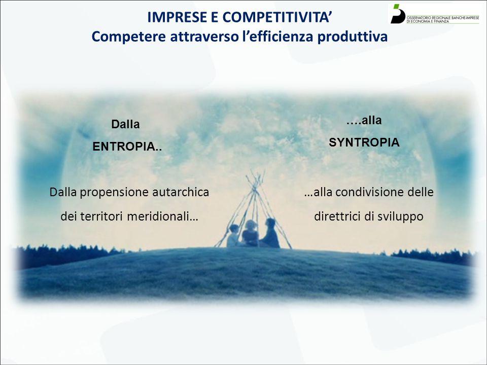 IMPRESE E COMPETITIVITA' Competere attraverso l'efficienza produttiva Dalla propensione autarchica dei territori meridionali… …alla condivisione delle direttrici di sviluppo Dalla ENTROPIA..