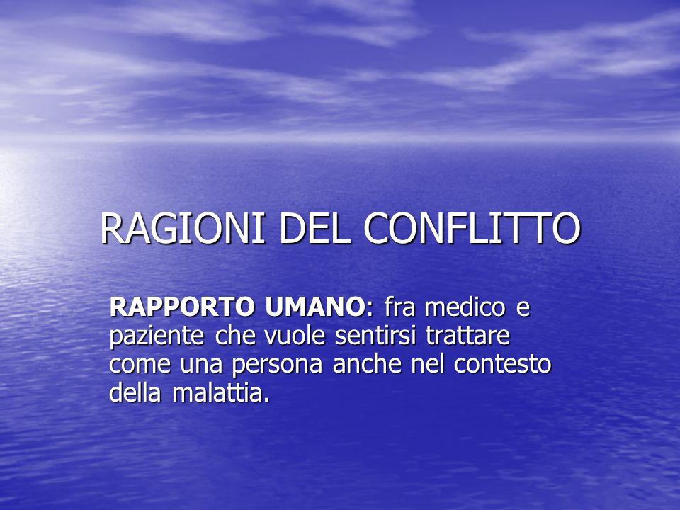 RAGIONI DEL CONFLITTO RAPPORTO UMANO: fra medico e paziente che vuole sentirsi trattare come una persona anche nel contesto della malattia.