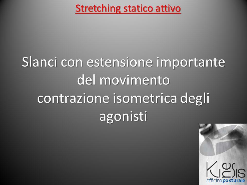 Slanci con estensione importante del movimento contrazione isometrica degli agonisti Stretching statico attivo