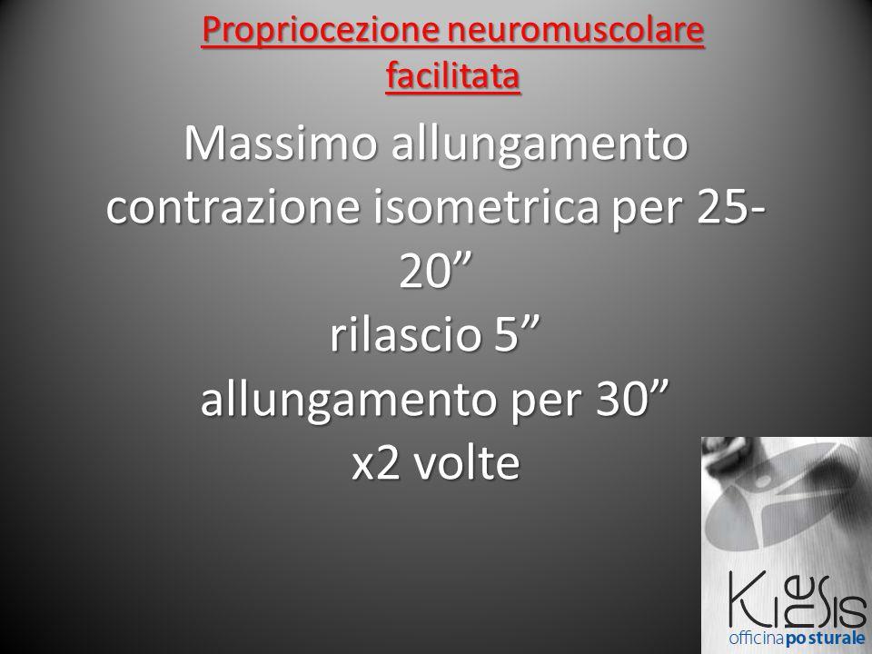 Massimo allungamento contrazione isometrica per 25- 20 rilascio 5 allungamento per 30 x2 volte Propriocezione neuromuscolare facilitata