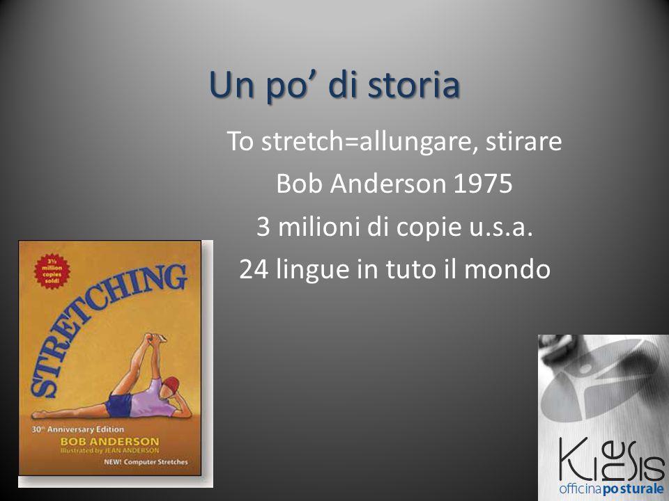 Un po' di storia To stretch=allungare, stirare Bob Anderson 1975 3 milioni di copie u.s.a. 24 lingue in tuto il mondo