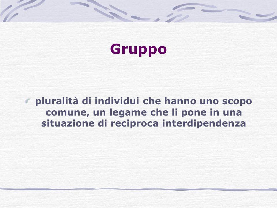 Gruppo pluralità di individui che hanno uno scopo comune, un legame che li pone in una situazione di reciproca interdipendenza