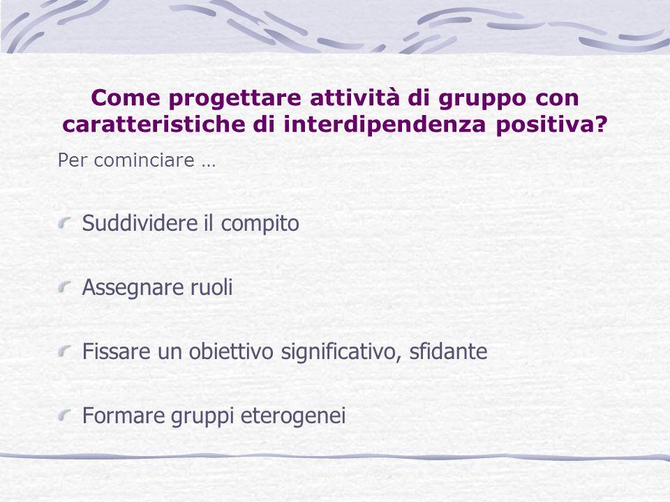 Come progettare attività di gruppo con caratteristiche di interdipendenza positiva? Per cominciare … Suddividere il compito Assegnare ruoli Fissare un