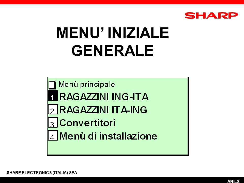 MENU' INIZIALE GENERALE SHARP ELECTRONICS (ITALIA) SPA ANILS