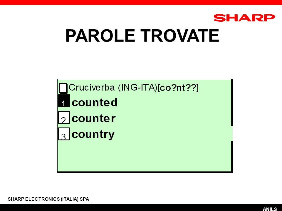 PAROLE TROVATE SHARP ELECTRONICS (ITALIA) SPA ANILS