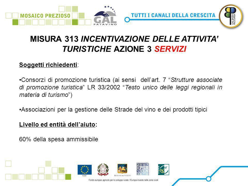 MISURA 313 INCENTIVAZIONE DELLE ATTIVITA' TURISTICHE AZIONE 3 SERVIZI Soggetti richiedenti: Consorzi di promozione turistica (ai sensi dell'art.