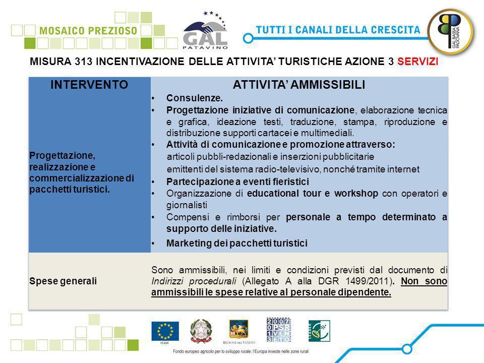 MISURA 313 INCENTIVAZIONE DELLE ATTIVITA' TURISTICHE AZIONE 3 SERVIZI