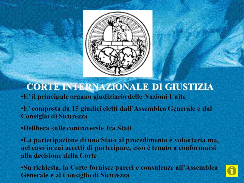 CORTE INTERNAZIONALE DI GIUSTIZIA E' il principale organo giudiziario delle Nazioni Unite E' composta da 15 giudici eletti dall'Assemblea Generale e d