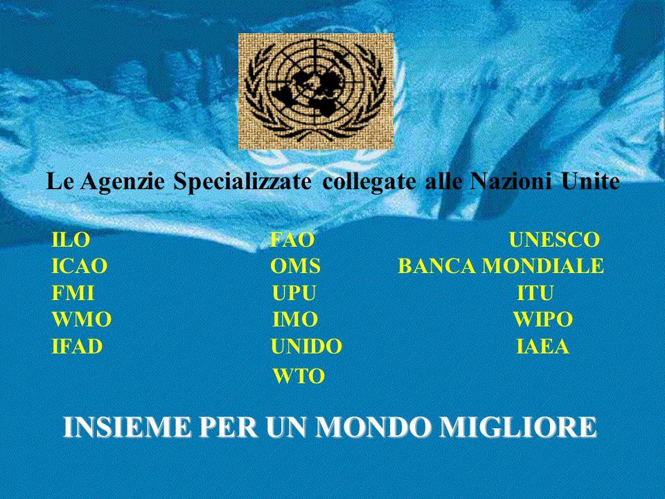 Le Agenzie Specializzate collegate alle Nazioni Unite ILO FAO UNESCO ICAO OMS BANCA MONDIALE FMI UPU ITU WMO IMO WIPO IFAD UNIDO IAEA WTO INSIEME PER