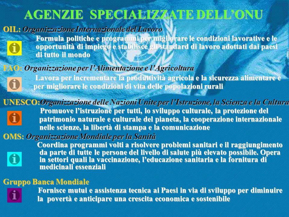 AGENZIE SPECIALIZZATE DELL'ONU OIL: Organizzazione Internazionale del Lavoro Formula politiche e programmi per migliorare le condizioni lavorative e l