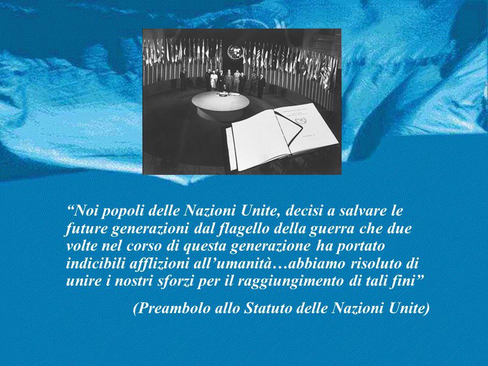 NAZIONI UNITE, UN PROGETTO DI PACE è stato realizzato da Alessandro Gisotti, volontario UNIC in collaborazione con il Centro di Informazione delle Nazioni Unite (UNIC) in Roma www.onuitalia.it Testi di riferimento: Statuto delle Nazioni Unite OPI 511/ novembre 1983 L'ONU in breve, DPI/2020 Marzo 1999; Basic Facts about the United Nations DPI/1920 Novembre 1999 Image and RealityDPI/2003 Gennaio 1999 Rapporto del Segretario Generale A/54/2000 Marzo 2000 L'Italia e le Nazioni Unite Giugno 1998 Immagini e fotografie: ONU Roma, 29 giugno 2000