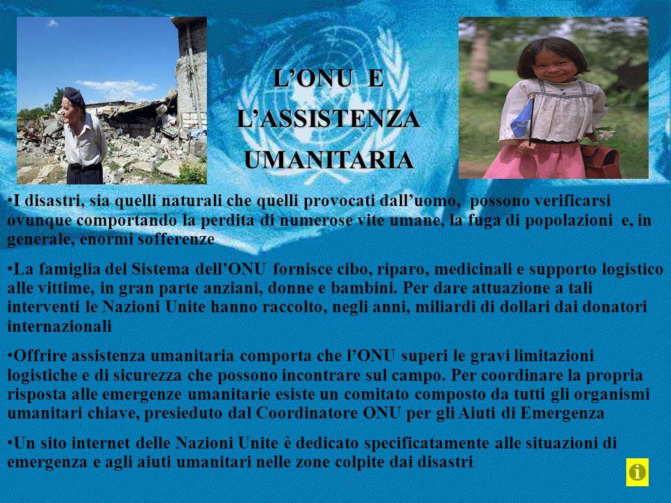 L'ONU E L'ASSISTENZAUMANITARIA I disastri, sia quelli naturali che quelli provocati dall'uomo, possono verificarsi ovunque comportando la perdita di n