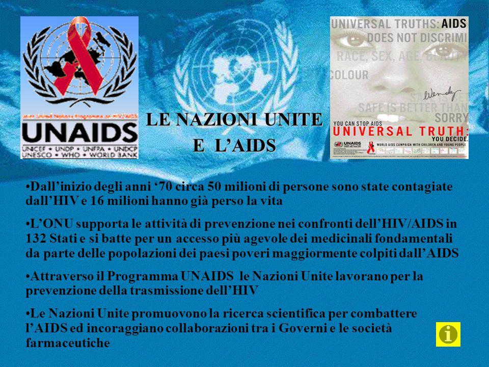 LE NAZIONI UNITE E L'AIDS Dall'inizio degli anni '70 circa 50 milioni di persone sono state contagiate dall'HIV e 16 milioni hanno già perso la vita L