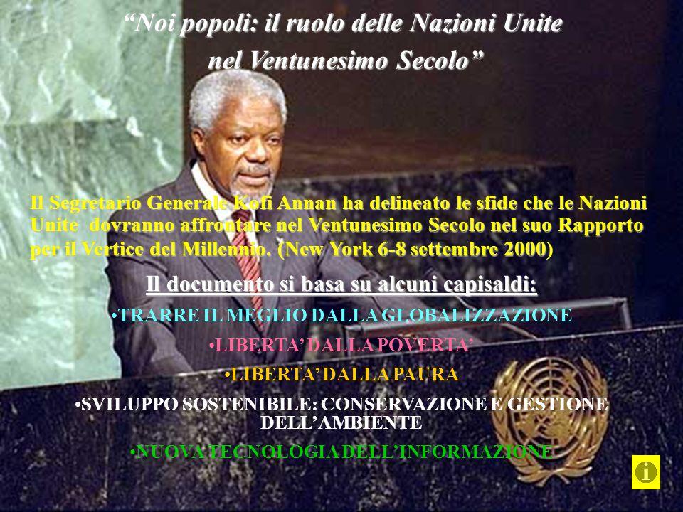 Il Segretario Generale Kofi Annan ha delineato le sfide che le Nazioni Unite dovranno affrontare nel Ventunesimo Secolo nel suo Rapporto per il Vertic