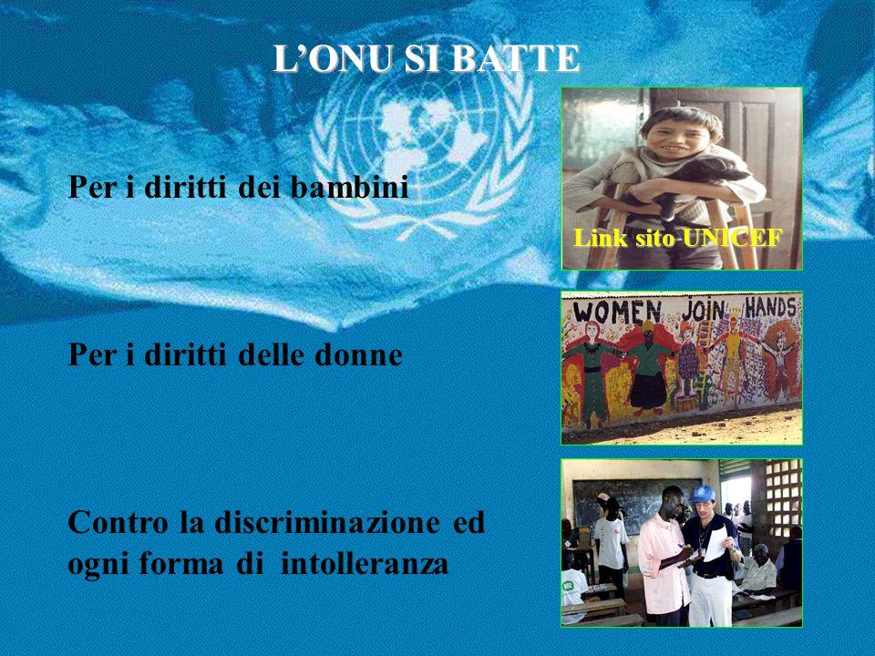 L'ONU SI BATTE Per i diritti dei bambini Per i diritti delle donne Contro la discriminazione ed ogni forma di intolleranza Link sito UNICEF