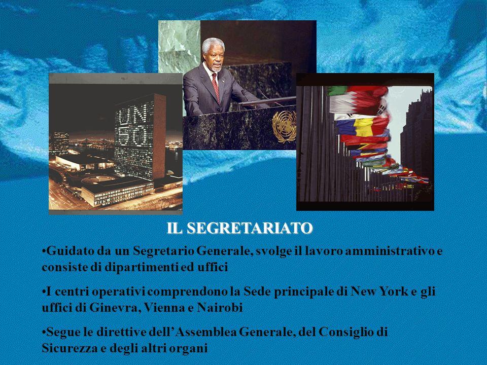 IL SEGRETARIATO Guidato da un Segretario Generale, svolge il lavoro amministrativo e consiste di dipartimenti ed uffici I centri operativi comprendono