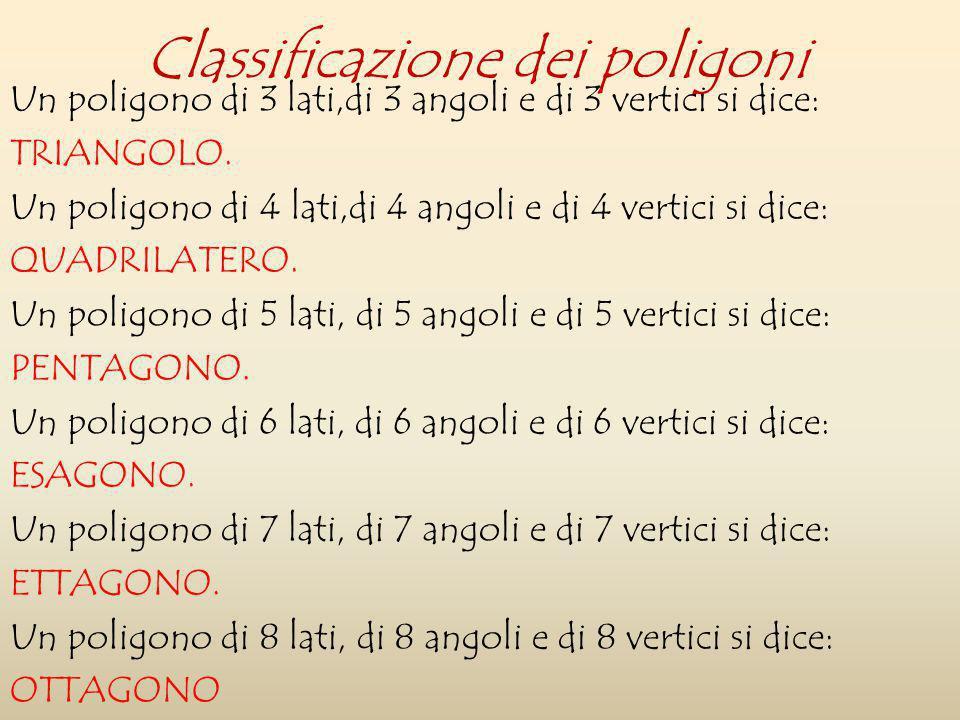 Un poligono di 3 lati,di 3 angoli e di 3 vertici si dice: TRIANGOLO. Un poligono di 4 lati,di 4 angoli e di 4 vertici si dice: QUADRILATERO. Un poligo