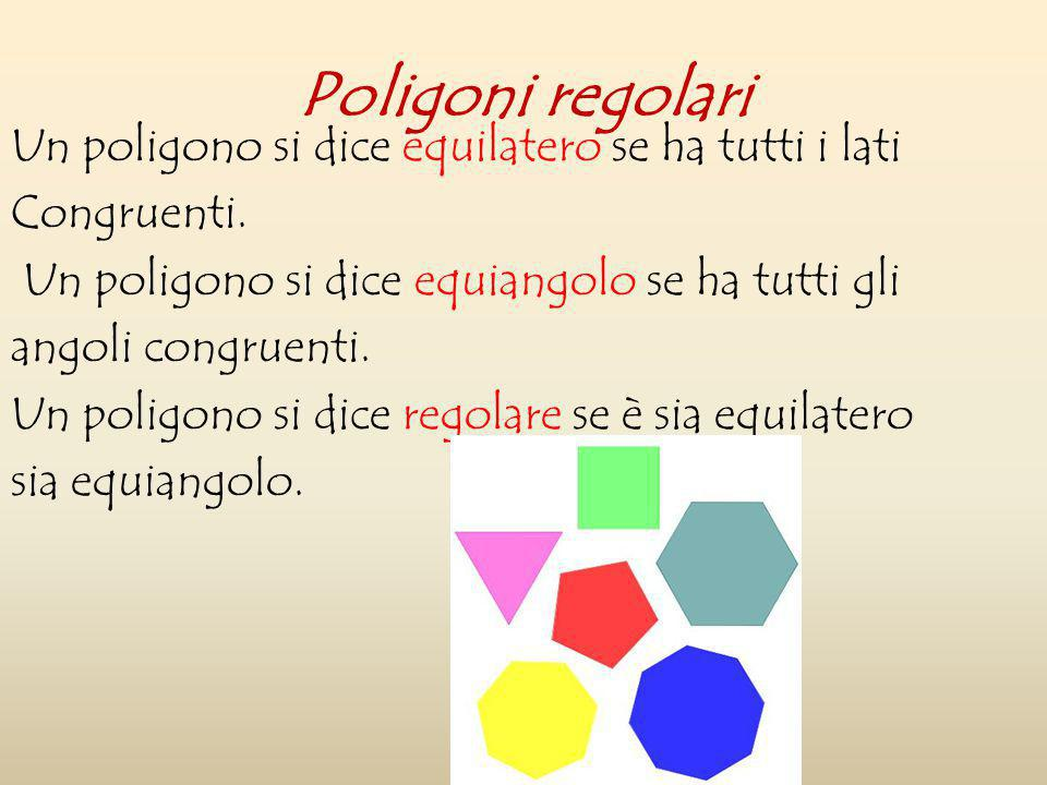 Poligoni regolari Un poligono si dice equilatero se ha tutti i lati Congruenti. Un poligono si dice equiangolo se ha tutti gli angoli congruenti. Un p