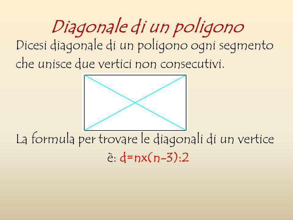 Dicesi diagonale di un poligono ogni segmento che unisce due vertici non consecutivi. La formula per trovare le diagonali di un vertice è: d=nx(n-3):2