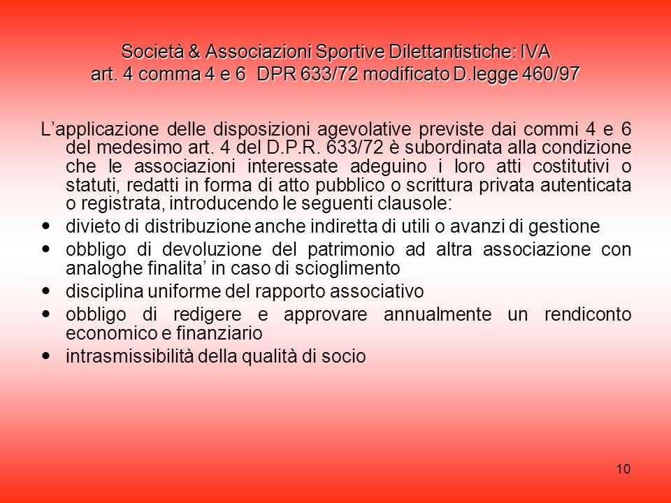 10 Società & Associazioni Sportive Dilettantistiche: IVA art.
